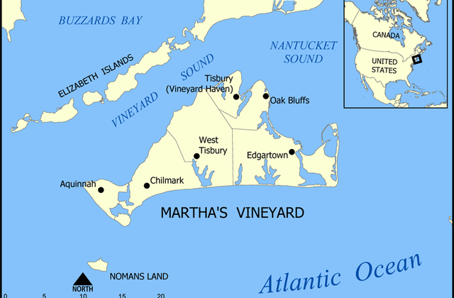Mapa de la isla Martha's Vineyard