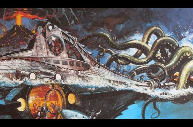 Fotografía de un submarino en color