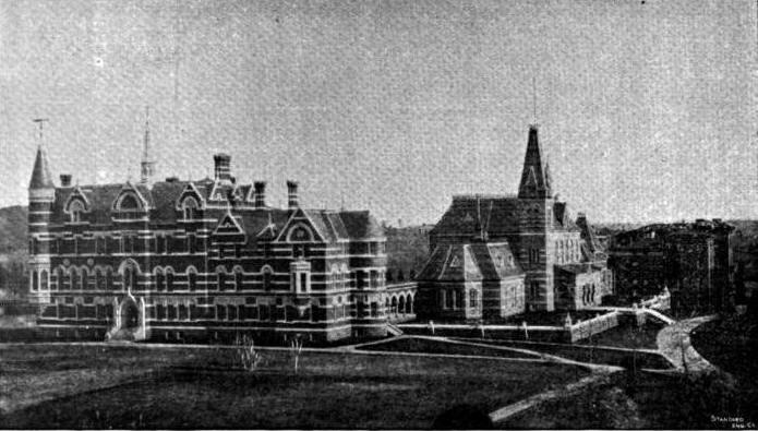 Imagen en blanco y negro de la universidad de gallaudet de 1857